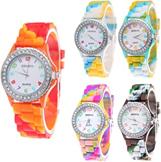 CdyBox Wholesale Watch Set Lot 5 Pack Rhinestone Colorful Silicone Jelly Wristwatch for Women Girls Kids