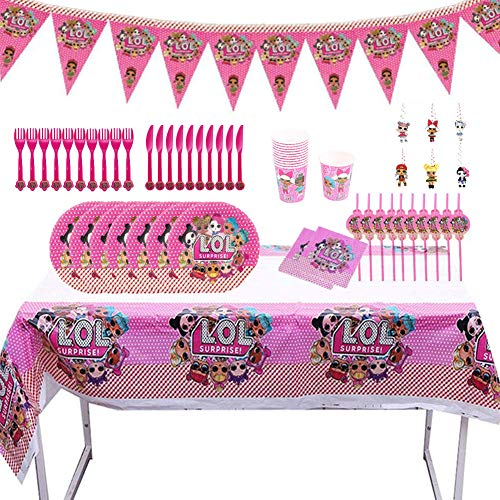 Party Supplies Juego de Decoración Happy Birthday Party Vajilla,78pcs LOL Surprise Party...