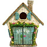"Twig & Flower The Adorable Believe Fairy Garden House - 8"" Tall - Hand Painted (with Doors That Open)"