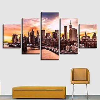 TYUIOP Canvas HD Prints Picture Art Wall 5 Pieces City Architecture Castle House Painting Home Decoration Tower Bridge Lan...