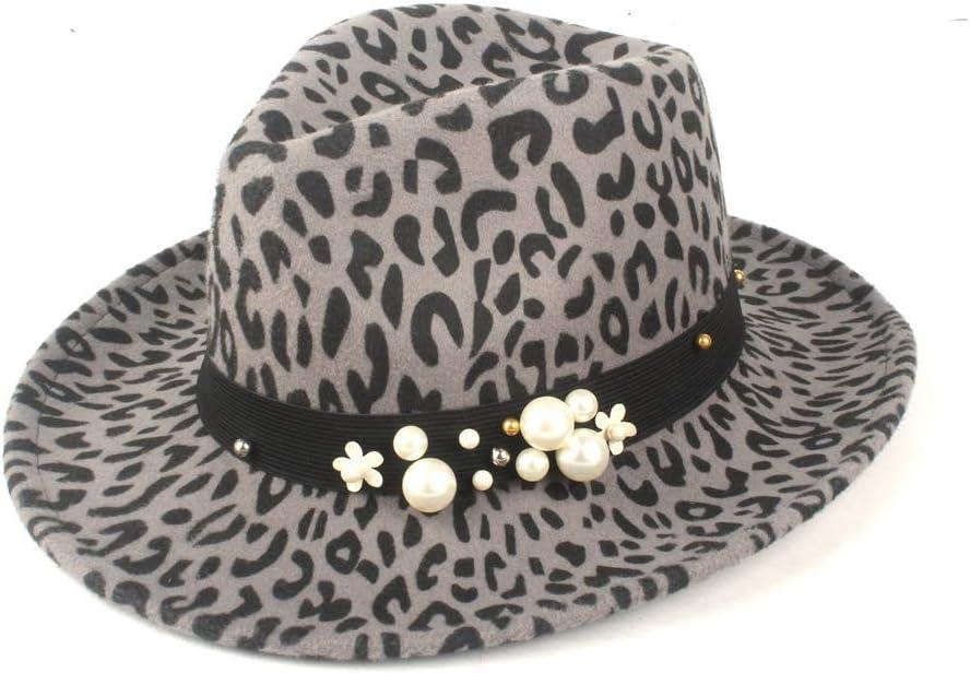 U/D Unisex Flatter Fedora Hat Wool Polyester Official Hat Panama Hat Autumn Winter Elegant Hat Fashion Hat SZMAABBC (Color : Gray, Size : 56-58cm)