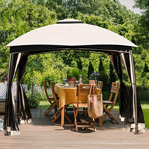 CHARMELEON Gazebos for Patios 10 x 10, Outdoor Double Vent Deck Canopy Tent with Mosquito Netting (Black)