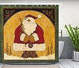Santa Claus Shower Curtain, Christmas Fabric Shower Curtain Set Art Print Bathroom Tub
