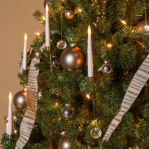 Flameless Electric LED Candles – Christmas Tree Lights – Taper Christmas Candles, Battery Operated, Remote Controlled, Set of 10 (6' Taper Candle with 6' Weight, White)