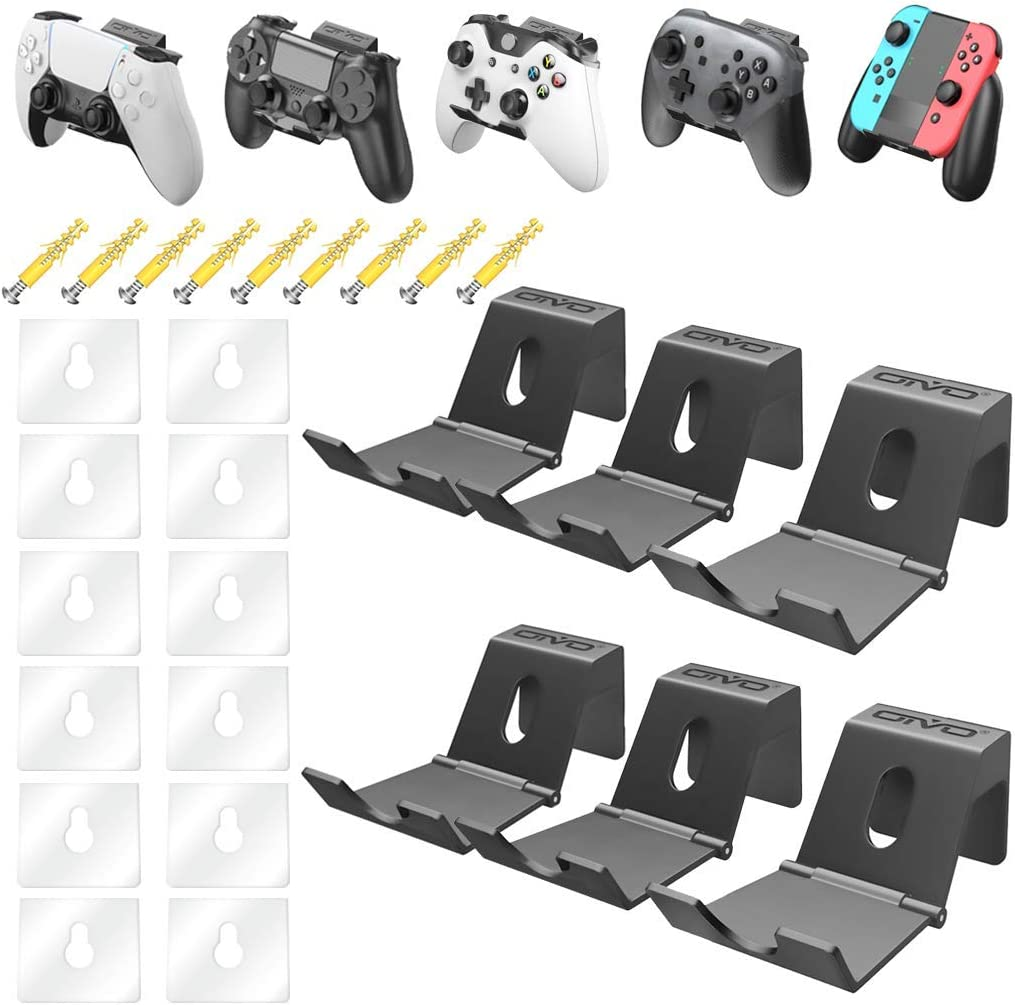OIVO Controller Wall Mount Holder for PS3/PS4/PS5/Xbox 360/Xbox One/S/X/Elite/Series S/Series X Controller, Pro Controller, Foldable Wall Mount for Video Game Controller&Headphones -6 Pack