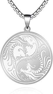 FLYUN Yin Yang Dragon Pendant Viking Runes Necklace for Men women and Teen Stainless Steel Amulet Jewelry