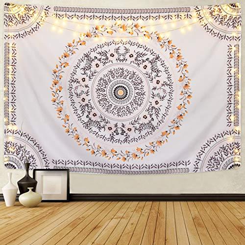 Alishomtll Wandbehang indisch Mandala Blume Bohemian Böhmisch Wandteppich Tapisserie Yoga Wandtuch Wandkunst psychedelisch Tischdecke Deko Tuch groß 210 x 150cm