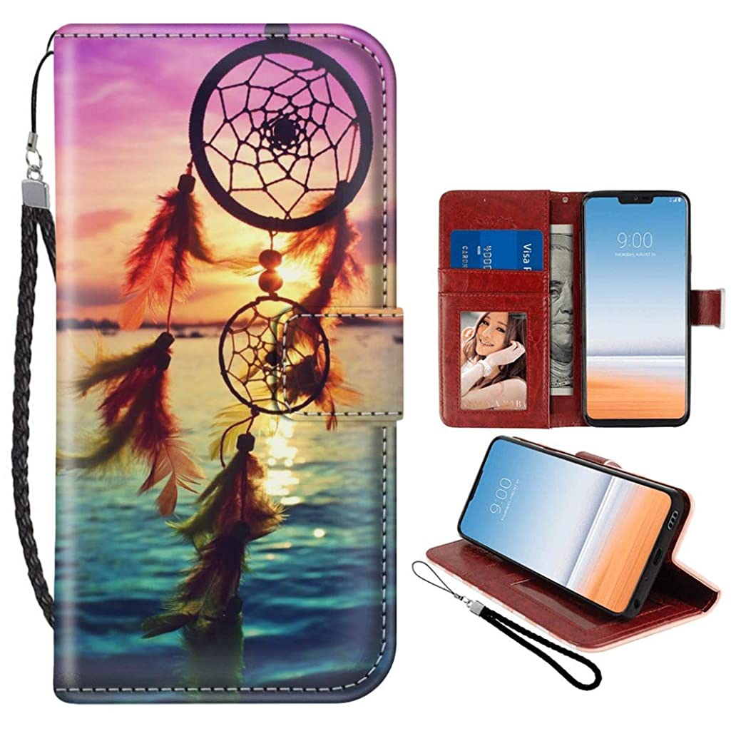 Dream Catcher LG G7 ThinQ Case for Kickstand PU Leather Card Slot Magnetic Flip Wristlet Phone Cover LG G7 Case Dream Catcher