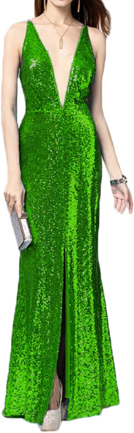Alilith.Z Sexy Plunging V Neck Sequins Prom Dresses 2019 Mermaid Front Slit Party Gowns Formal Evening Dresses for Women