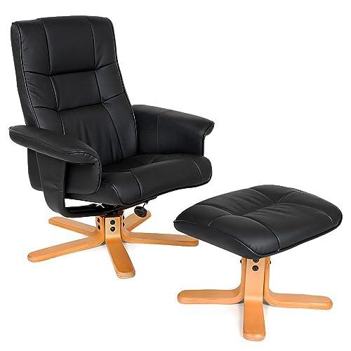 TecTake Fauteuil relax TV pour la détente avec pouf avec pieds solides en bois - diverses modèles - (Pieds: Bois/laqué naturelle (No. 401058))