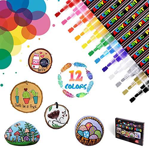 WONSAR Acrylstifte für Steine Bemalen 12 Farben Marker Stifte Wasserfest Acrylstifte für Holz Leinwand Metall Papier Glas Keramik Porzellan Becher Kunststoff Kinder DIY (Medium Spitze)