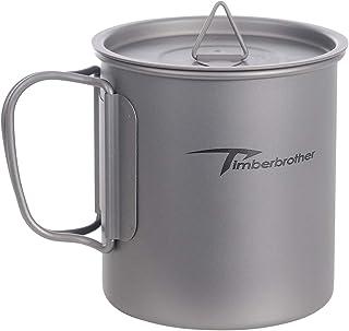 Timberbrother 250ml ~ 900ml Titanium Outdoor Camping Mug with Lid (600ml)
