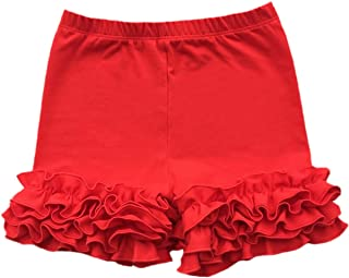 girls red ruffle shorts