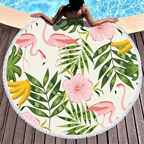 Lolyze Toalla de playa redonda grande y suave con diseño de flamencos, toalla de playa, toalla de baño, toalla de picnic, toalla de playa, para dos personas, color blanco, 150 cm