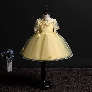Luxury Sasa Princess Dress Girls Short-Sleeve Dress Embroidered with Flowers Beaded Princess Wedding Dress Tutu Skirt ryq (Color : Yellow, Size : 170cm)