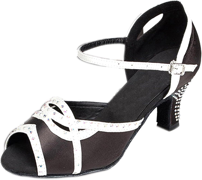 Honeystore Women's Soft Satin Salsa Tango Ballroom Latin Dance shoes Peep Toe Chunky Heel
