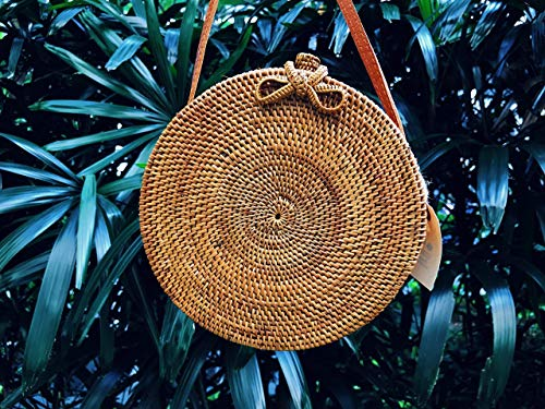 Round Rattan Basket bag, Bohemian round shoulder bag, Round shoulder bag, Hand Woven Rattan Round Bag, Basket Bag, Round Bag, Rattan Bag, Straw Bag, Handmade Bag, Ronda rota cesta bolso, Weave Bag