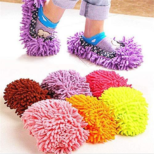 Lazy Reinigung Fußreiniger Boden Staubentfernung Überschuhe Mop Hausschuhe bequemes Haushaltsreinigungswerkzeug - 1 Paar Pink (2 Stück)