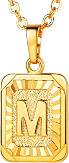 "U7 Monogram Necklace A-Z 26 Letters Pendants 18K Gold/Platinum Plated Square Tiny Initial Necklaces for Women Girls,Chain 18"", with Customize Service, Gift Box Packed"