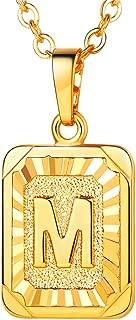 Monogram Necklace A-Z 26 Letters Pendants 18K...