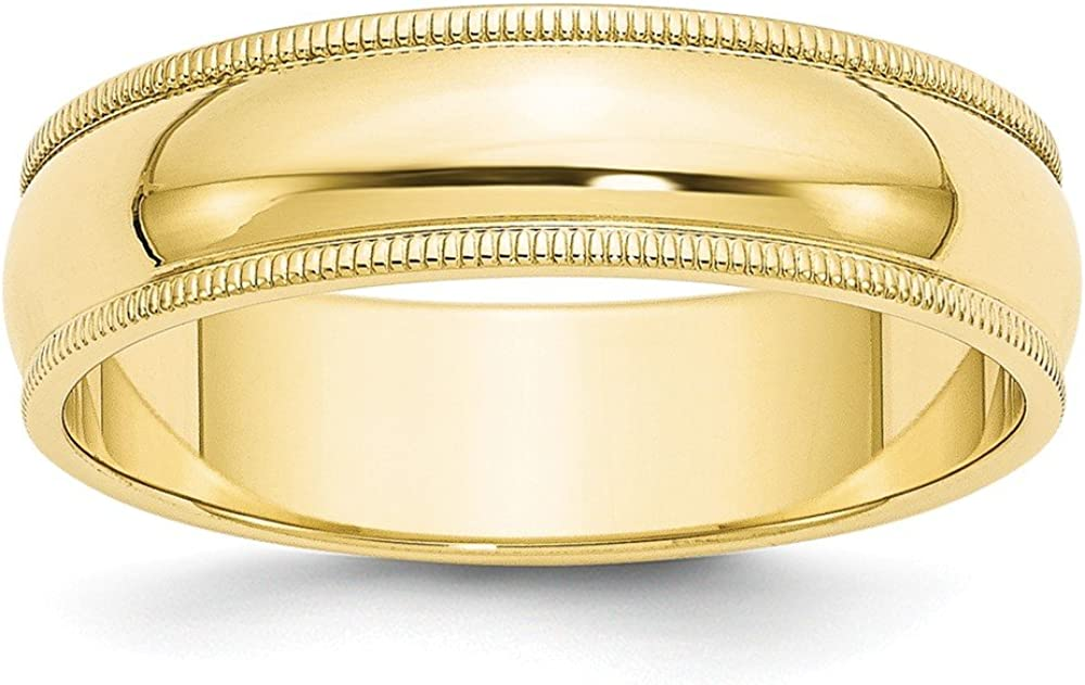 10k Yellow Gold 6mm Milgrain Half Round Wedding Ring Band Size 8.5 Classic Fine Jewelry For Women Gifts For Her
