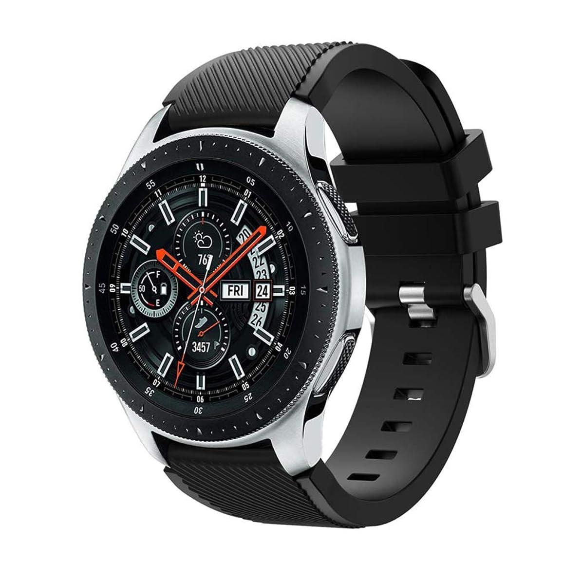 香水特殊加害者Samsung Galaxy Watch 46mmバンド Comtax 22mm シリコン製 交換用バンド Samsung Galaxy Watch 46mm バンド (ブラック)