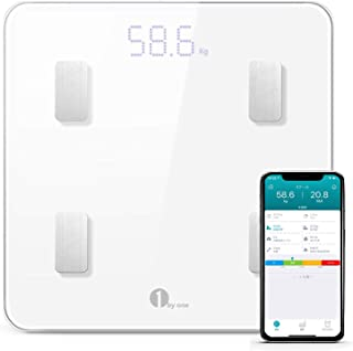 1byone 体重 体組成計 体脂肪計 スマートスケール 体重/体脂肪率/体水分率/推定骨量/基礎代謝量/内臓脂肪レベル/BMIなど測定 同期分析 iOS/Androidアプリで健康管理 赤ちゃんの体重計算可能 肥満の予防 改善 日本語APP