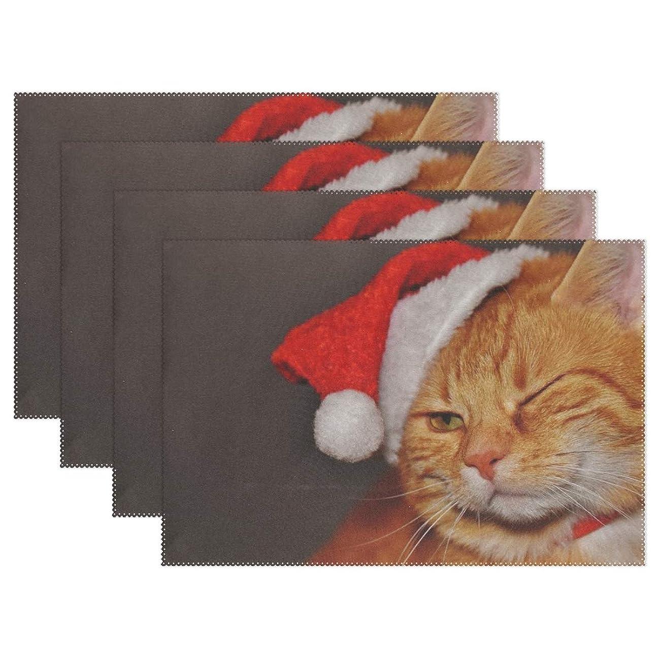 絶えず主婦ワンダーRhスタジオ場所マット猫赤クリスマスサンタ帽子面白いプレートパッドセットの4洗える耐熱汚れ耐性食べるテーブルマットホームディナー装飾