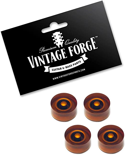 Split Shaft Pots by VINTAGE FORGE SKOUS-AM4 Set of 4 Fits 24 Fine-Spline USA Imperial Amber Speed Knobs Blank No Numbers for Gibson Les Paul SG Electric Guitar