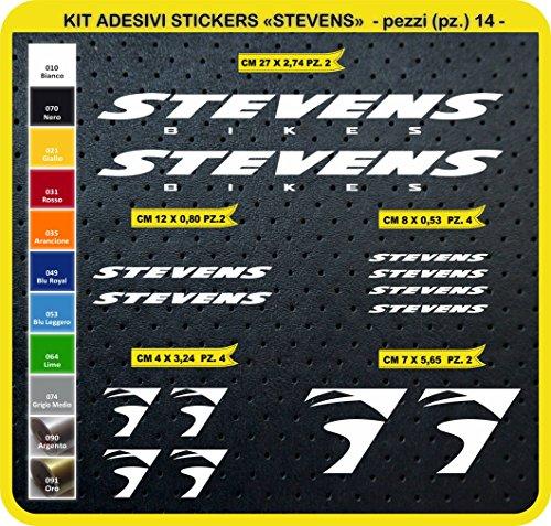 Pimastickerslab Aufkleber Fahrrad Stevens Kit Aufkleber Stickers 14 Stück – bici Bike Cycle wählbar Cod.0804 (010 Bianco)