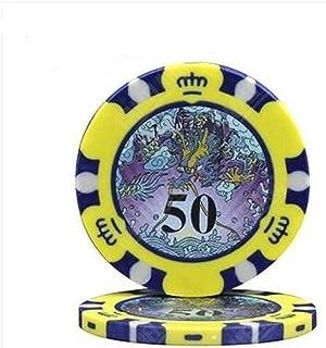 MMingx- カジノポーカーチップ 10個/ロットクレイポーカーチップドラゴンパターントランプテキサスホールデムポーカーギャンブルカジノチップ7色と値14g / pc (Color : 50)