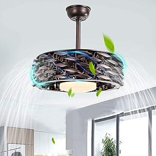Ventilador de techo retráctil de 22 pulgadas con luz LED, ventilador de techo sin hojas, lámpara de araña, ventilador de techo con iluminación para dormitorio