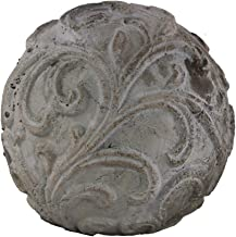 Urban Trends Cement Ornamental Sphere with Embossed Swirl Design in LG Washed Finish, Gray