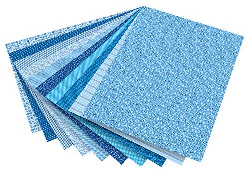 folia 46409 - Motivkarton Basics blau sortiert, 50 x 70 cm, 270 g/qm, 10 Bogen - Grundlage für vielfältige Bastelarbeiten und -ideen