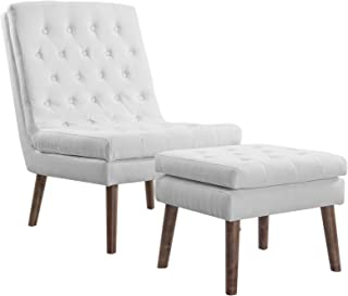 Modway Modify Tufted Modern Lounge Accent Chair and Ottoman Set in White