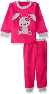 Jockey Embroidered Rabbit Long Sleeves Round Neck Sweatshirt with Quilted Pants Pajama Set for Girls
