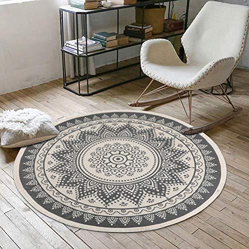 SHACOS Mandala Teppich Rund Baumwolle Teppich Abwaschbar 120 cm Boden Teppich mit Quasten Ideal für Wohnzimmer, Schlafzimmer