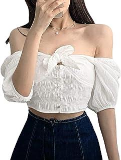 Camiseta de Manga abullonada con Lazo para Mujer Moda Sexy con Hombros Descubiertos Cuello Cuadrado Top Recortado Color só...