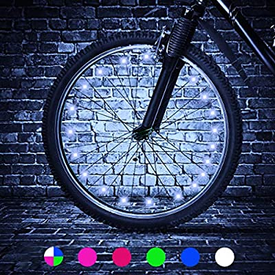 TINANA 2 Tire Pack LED Bike Wheel Lights Ultra Bright Waterproof Bicycle Spoke Lights Cycling Decoration Safety Warning Tire Strip Light for Kids Adults Night Riding (White 2pack)
