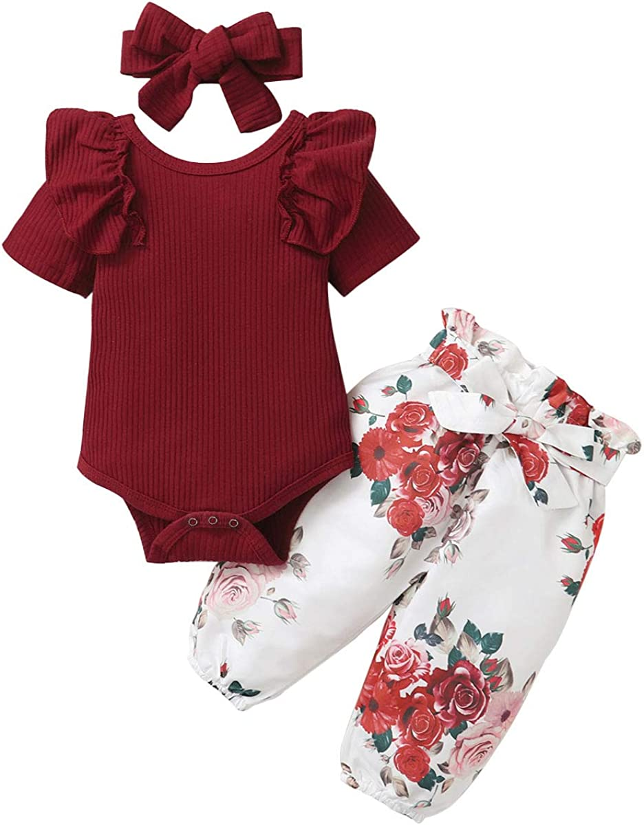 Floral Pants Amissz Baby Girl Clothes Set Long Sleeve Romper Tops Headband Newborn Infant Girls Spring Outfits for 3-24 Months 3Pcs Sets