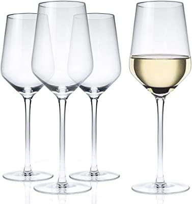 Kingrol 4 Pack 13 oz Lead Free Crystal Wine Glasses, Long Stem White Wine Glasses Universal Wine Glasses for Party, Wedding, Anniversary, Christmas