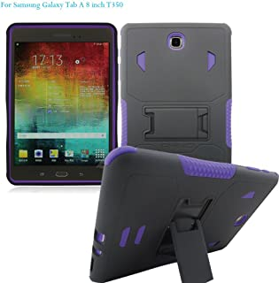 [iRhino] TM Black Purple Heavy Duty rugged impact Dual Layer Hybrid Case cover with Build In Kickstand Protective Case cover For Samsung galaxy Tab A 8.0 inch T350 Tablet case cover