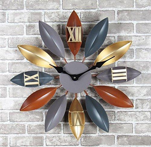 CivilWeaEU- Industrial Fenghuang Feuilles Murs Walls Fonds d'écran Creative Bars Office Cafes Décoration Horloges (Couleur : B)