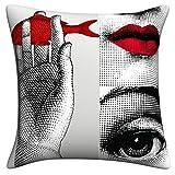 YANLIANG 2019 Mode Dekorative Plaid Kissenbezug Italienischen Fornasetti Serie für Kunst Schlafzimmer Wohnzimmer Cafe Kissen Kissen Bettwäsche Set-26_Kissenbezug 45X45CM