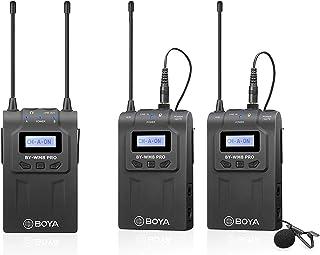 نظام جهاز مستقبل مع ميكروفون لاسلكي BY WM8 Pro K2 دقة عالية UHF مزدوج القناة من بويا + ناقل ايه + ناقل بي مع شاشة LCD لكام...