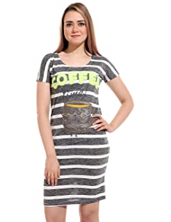 Andora Short Sleeves Embroidered Cup Round-Neck Striped Nightgown for Women