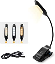 LENCENT 7 LED Book Light Rechargeable[Upgraded], 3 Colors and 9 Brightness Modes (Warm & White), Eye Care Clip Reading Lam...