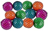 Kicko Colorful Mesh Squish Ball - Stress Reliever Squishy - Therapy Ball, 12 Pack, 3 Inches