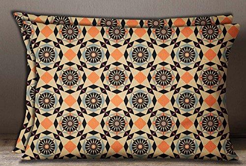 S4Sassy 1 Par Mosaico Estampado de Algodon Rectangulo de Popelina Cojin funerario Negro Cojin-20 x 28 Pulgadas