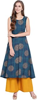 Stylum Women's Gold Print Rayon Flared Sleeveless Kurti Palazzo Set (Blue)